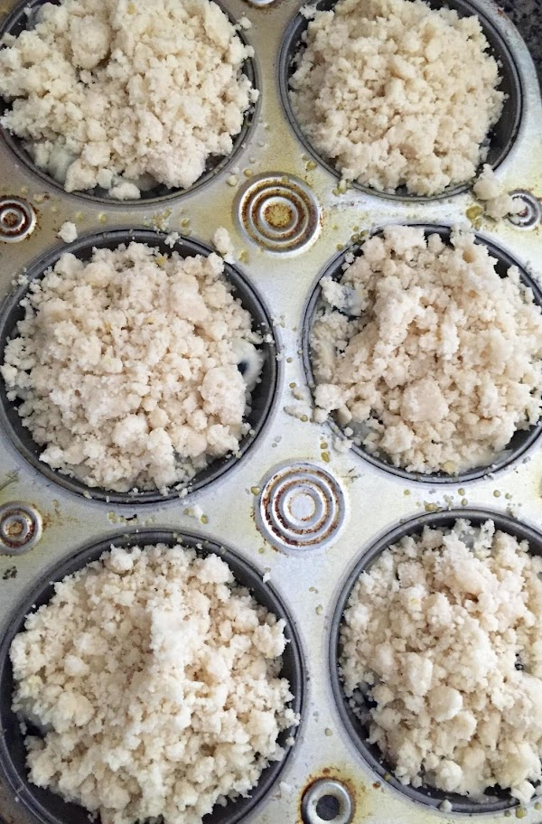 Crumble mixture on top of each muffin. Place in oven and bake  about...