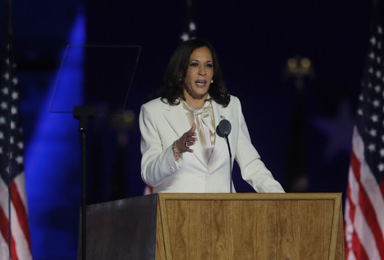 US vice presidential nominee Kamala Harris speaks in Wilmington Delaware on November 7 2020. Picture: REUTERS/Jim Bourg