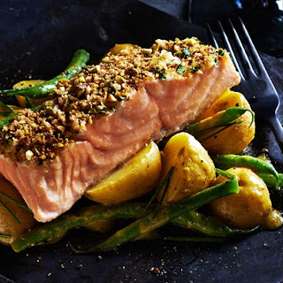 Pistachio Crusted Salmon with Herbed Potato Salad