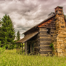 Cabin in the Woods by Sandi Phillips Miller - Buildings & Architecture Decaying & Abandoned ( 2017, nature, logs, pioneer, stone, high grass, house, barbour, log cabin, porch, chimney )