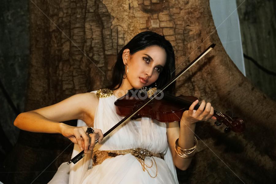 Violinist III by Suardhito Pratama - People Portraits of Women