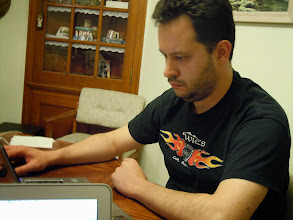 Photo: Simon playing a well-deserved game of Civ4 in the evening. Serious business.
