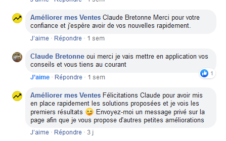 Avis client Améliorer mes Ventes Claude
