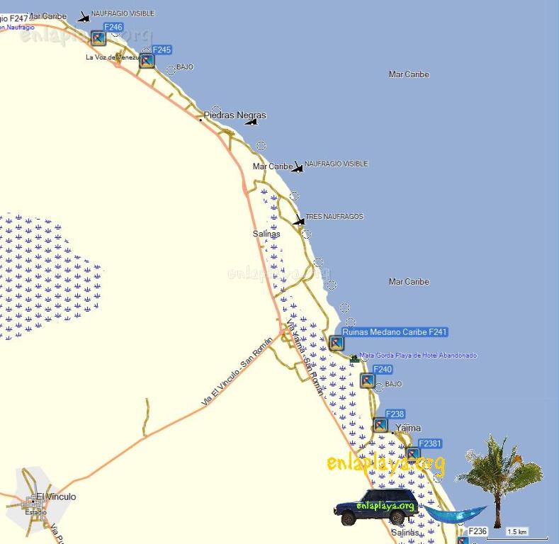 Mapa de Playas del Sector Ruinas Medano Caribe