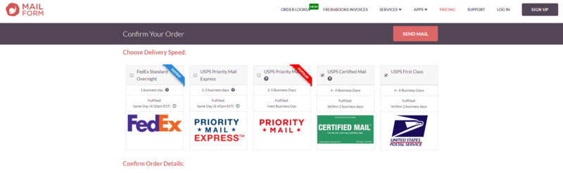 Image of where you select the type of delivery service including FedEx, Priority Mail Express, Priority Mail, Certified Mail, USPS logos.