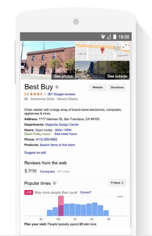 google a activer les moment les plus populaires en magasin