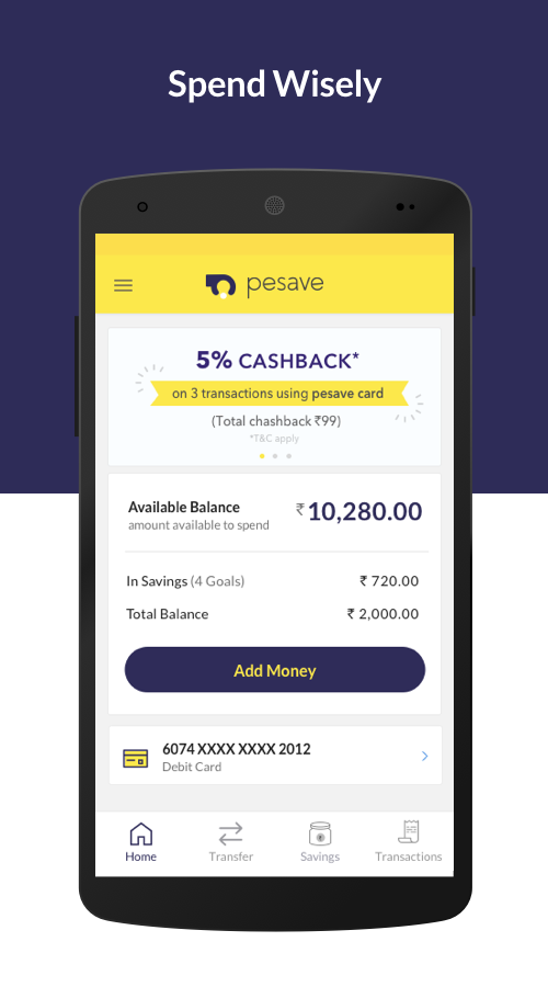 Online mobile banking account Powered by Yes Bank- screenshot