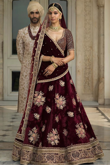 Beautiful Bridal Lehenga in Dark Maroon Colour