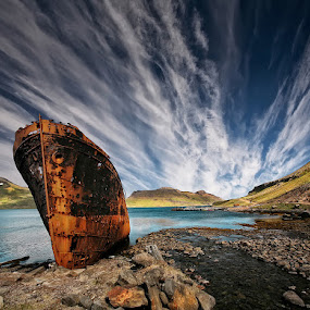 Chosen Place  by Þorsteinn H. Ingibergsson - Transportation Boats ( clouds, iceland, sky, nature, ship, wreck, structor, landscape, abandoned )
