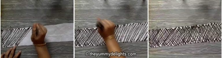 draw pattern on butter paper for making the chocolate lace wrap