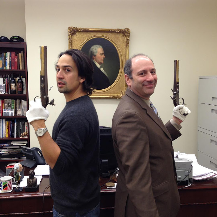 "Lin Manuel Miranda (creator of ""Hamilton"") duels with Burr's pistols. Photo: Museum of American Finance."