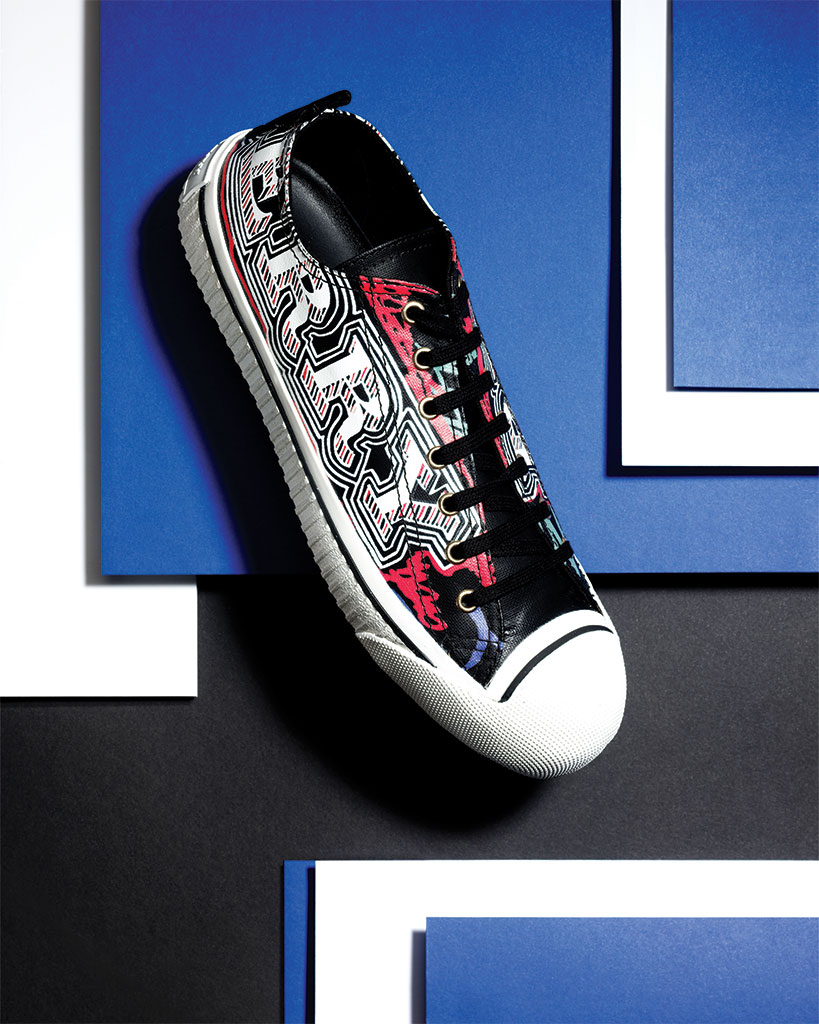 Doodle-print, coated-cotton sneakers, R7,290