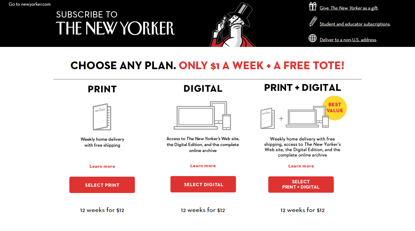 The New Yorker - Subscription Landing Page