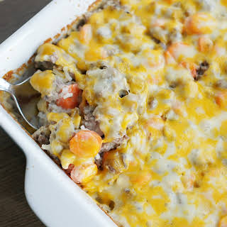 Cheesy Ground Beef and Rice Casserole.