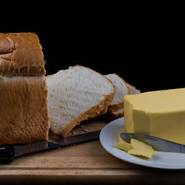 Bread and Butter by Helen Nickisson - Food & Drink Ingredients ( slices, bread, butter, sliced, knife )