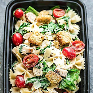 Chicken Caesar Pasta Salad + Meal Prep + VIDEO.