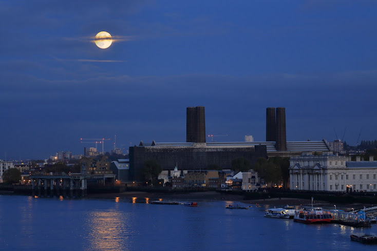 Full moon over Greenwich Power Station