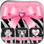 Zebra Launcher Pink Bow Theme