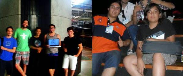 (Izquierda) Los desarrolladores de Rope Runner (Derecha) El equipo que hizo The Jafi Adventure...supongo que los que les cortaron la cabeza en la foto eran parte del mismo.