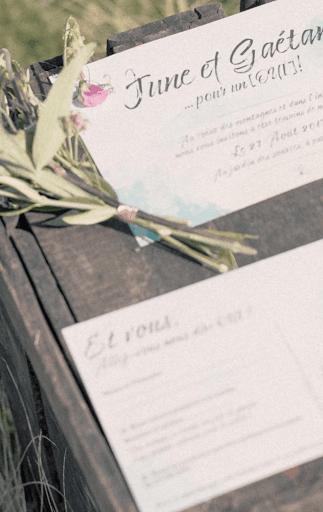 Papeterie de mariage bleu eau