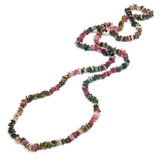 Turmalin, halsband med chipspärlor