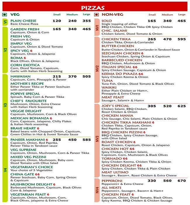 Joey's Pizza menu 1