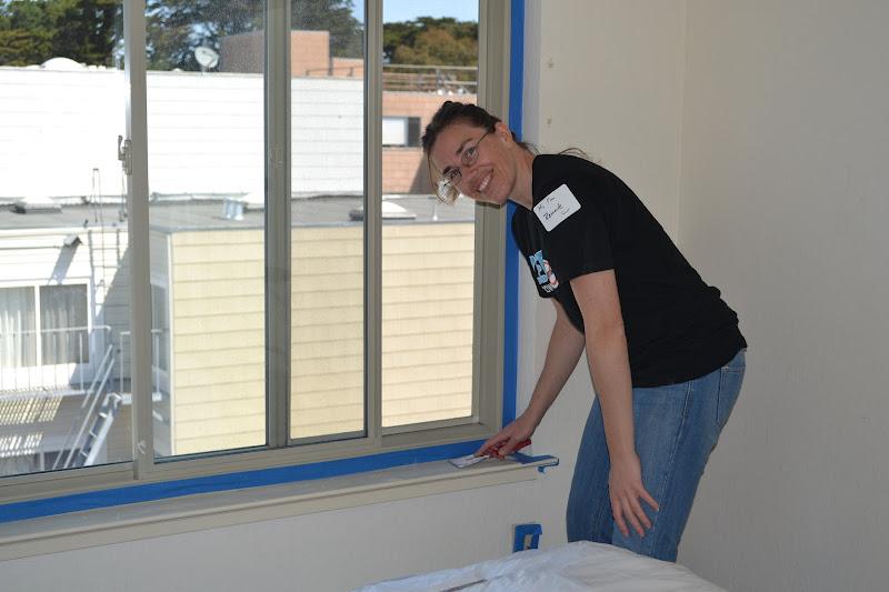 Photo: Wiping down the window sills