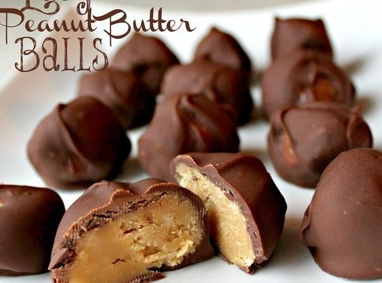 Mix the peanut butter, butter, brown sugar and powdered sugar together. Roll into 1...