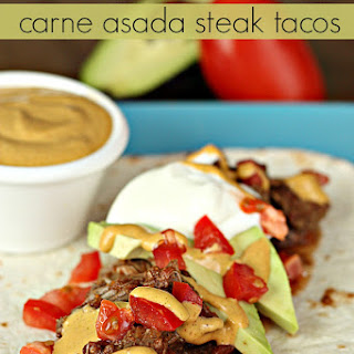 Slow Cooker Carne Asada Steak Tacos with Chipotle Aioli Sauce.