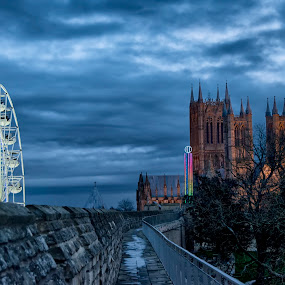 by Kellee Wright - City,  Street & Park  Night ( sky, big wheel, cathedral, night, city,  )
