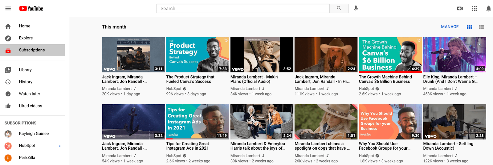 YouTube's Subscription Feed, which is one browse feature