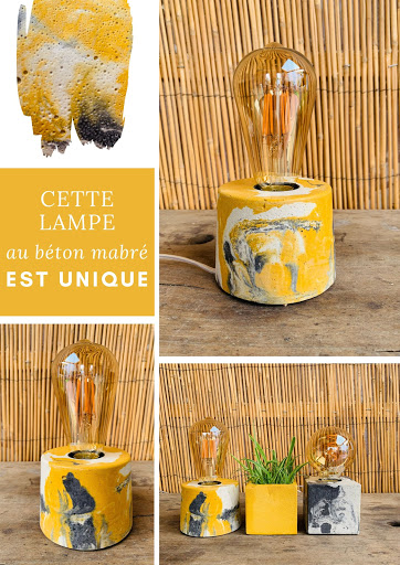 lampe béton marbré jaune et anthracite
