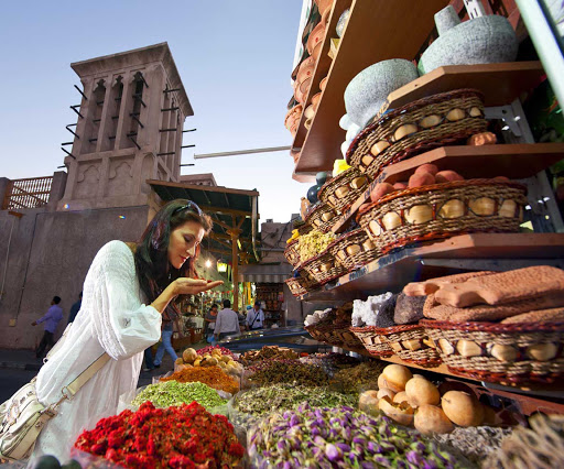 Immerse yourself in the sights, sounds and smells of Dubai at the Spice Souk.