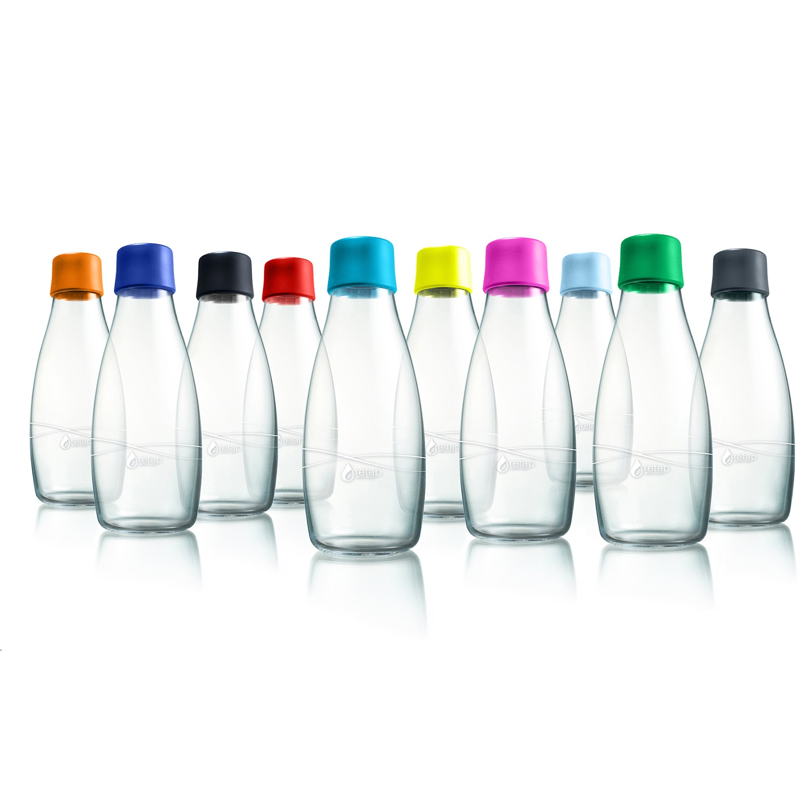 Refillable Glass Tap Water Bottles