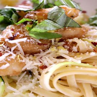 Zucchini Linguine Popcorn Shrimp Scampi