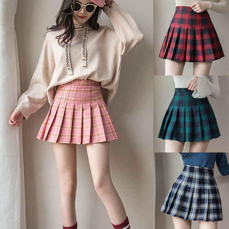 Minifaldas para la escuela para mujer, estilo gótico, kawaii, plisado, de  cintura alta, a cuadros, con cremallera, 2021|Faldas| - AliExpress