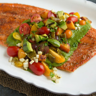 Roasted Salmon with California Avocado, Hatch Chiles and Grilled Salad