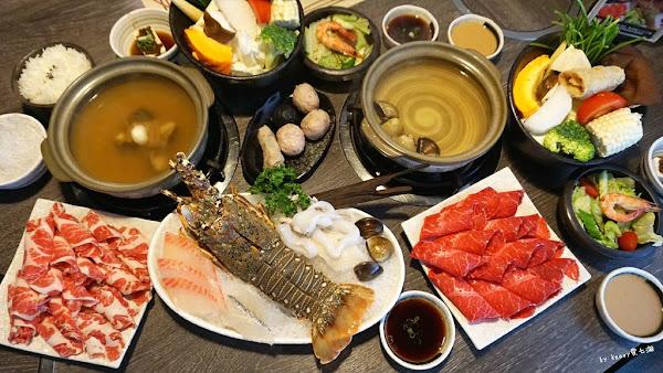日高鍋物 超值雙人套餐,七彩龍蝦拼盤、伊比利梅花豚、美國板腱牛嗑飽飽。