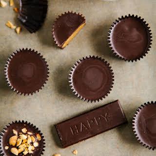 CRUNCHY DARK CHOCOLATE PEANUT BUTTER CUPS.