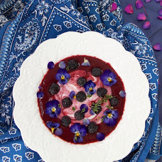 Peach Black Raspberry Dessert Soup