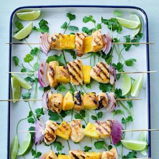 Grilled Chicken Skewers with Mango Salsa.