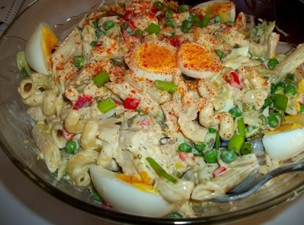 Pour the dressing over the Pasta mixture...toss lightly to blend well.I usually wait till...