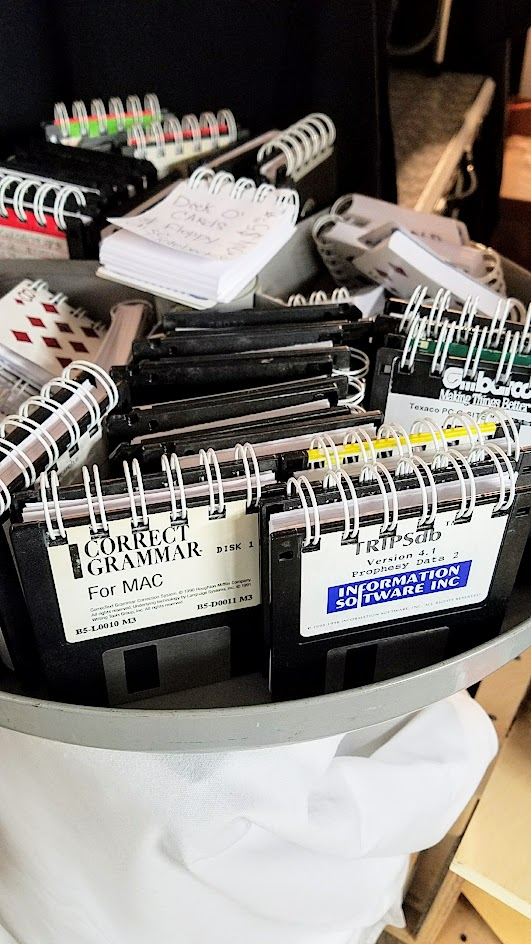 Notebooks made of disks at a booth as part of the vibe of the Portland Night Market, held every few months in the Central Industrial District in a warehouse, during the November 2016 market