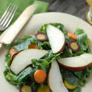 Spicy Mustard Mint Mizuna salad with Tangerine-Balsamic Dressing