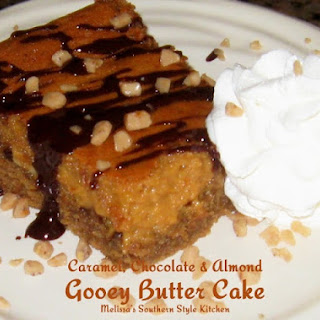 Caramel, Chocolate & Almond Gooey Butter Cake
