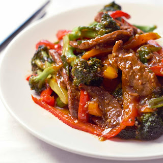 Flank Steak Stir Fry with Broccoli and Peppers.