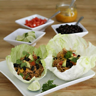 Lettuce Tacos with Slow Cooked Shredded Chicken.
