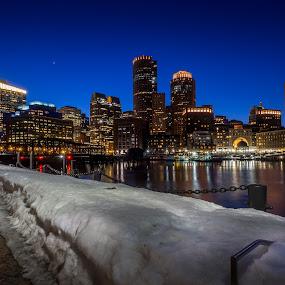 I think I'll Go to Boston by Hamish Carpenter - City,  Street & Park  Skylines ( lights, skyline, night photography, boston, snow, buildings, night, architecture, massachussets, fan pier )