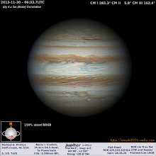 Photo: More Jupiter fun.  Here's a shot from the night after my previous Jupiter photo.  Here you can see the Great Red Spot Jr.