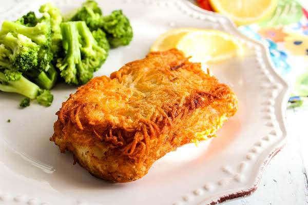 Potato Encrusted Fish On A Plate.